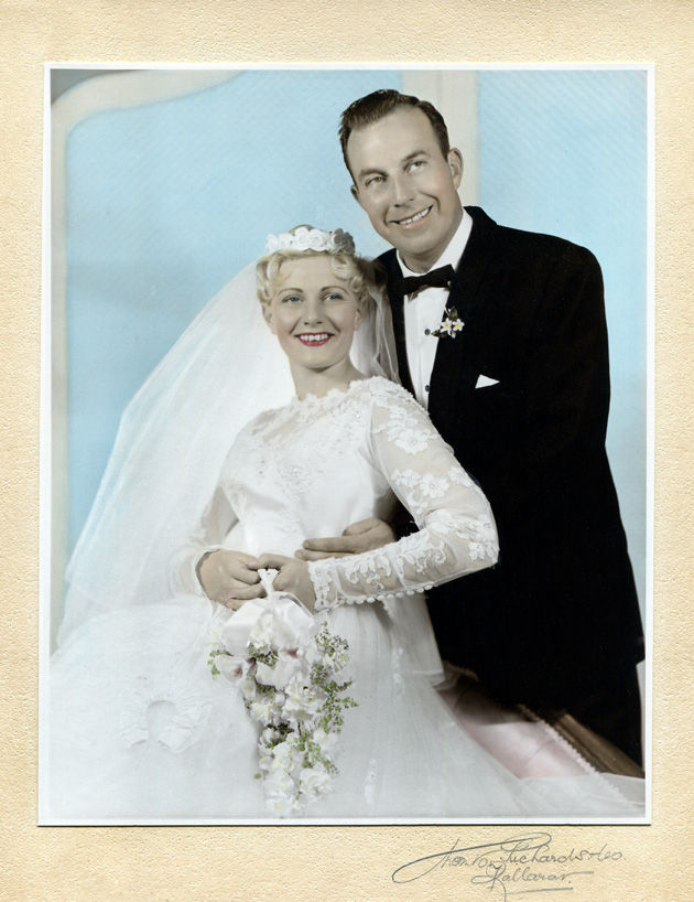 Hand coloured black + white photo 1950