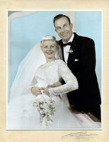Balarat Wedding 1950 Hand coloured black + white