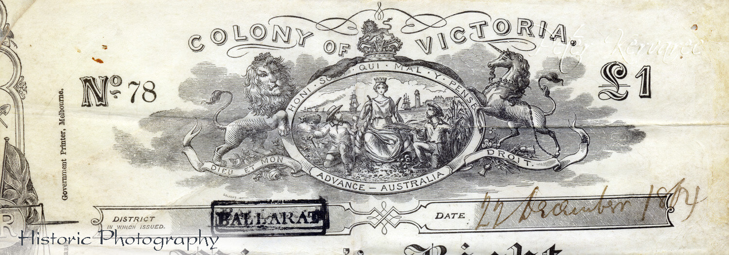 1854 Eureka, Gold Miners Licence, Eureka Rebellion, Miners Right, Gold Discovery, Ballarat Photography