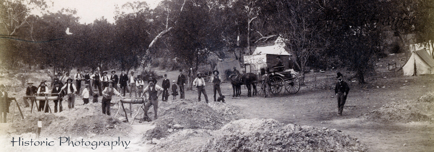 Ballarat Gold, Ballarat Photography, Gold Miners at their Gold Mine near Ballarat 1870