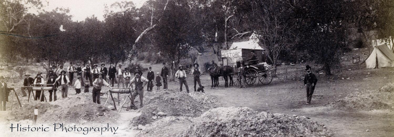 Ballarat Gold, Ballarat Photography, Gold Miners at their Gold Mine near Ballarat 1870