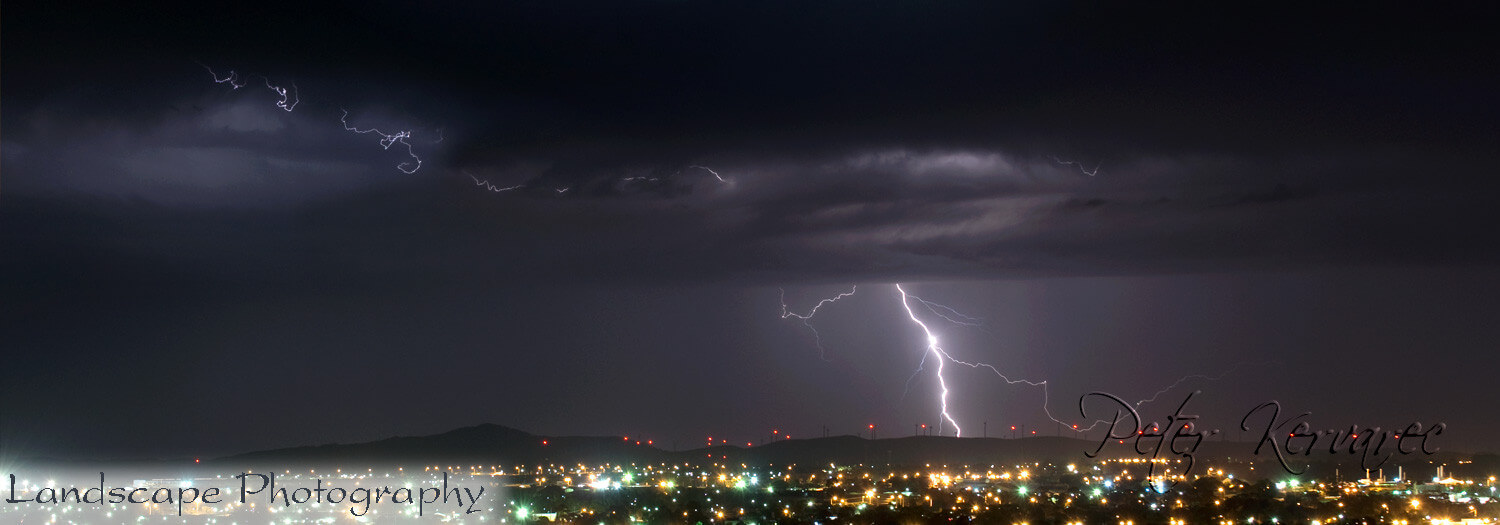 Ballarat Photography, Lightning Strike over Ballarat and Waubra Wind Farm